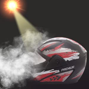 Sepia Premium Rider Full Face Graphic Helmet (Black and Red, M to L)