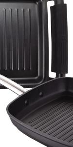 MasterPro Foodies Plancha Grill, Aluminio Forjado, Negro, 37 ...