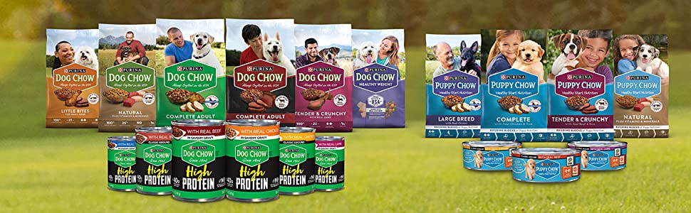 Purina Dog Chow and Puppy Chow wet and dry dog food varieties