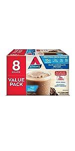 dark chocolate protein shake atkins keto friendly gluten free fiber
