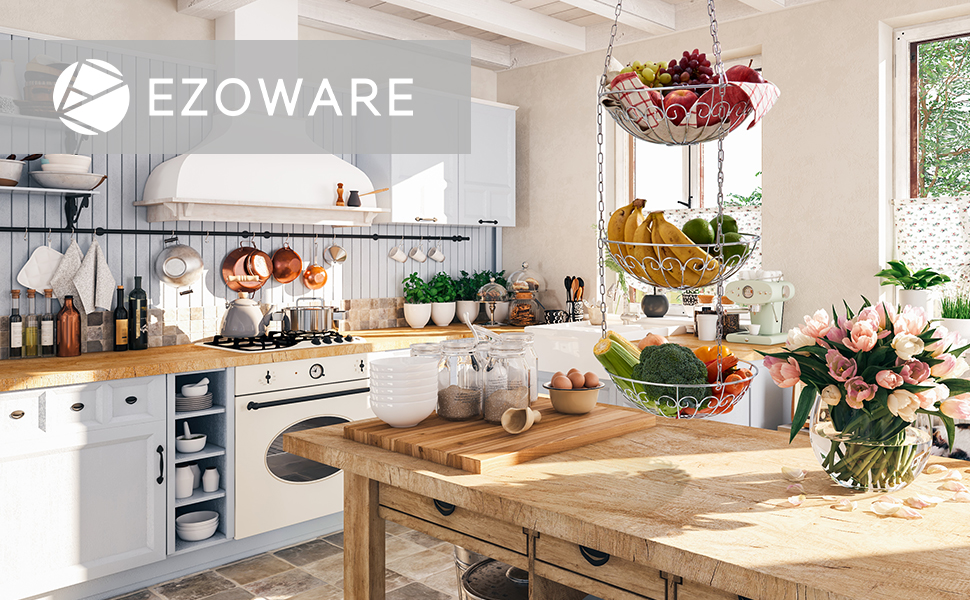 Ezoware Hanging Fruit Basket With Tiered 3 Tiers Kitchen Fruit Hanging Basket Made Of Metal Basket Storage Organiser For Fruits Vegetables And Plants Silver Amazon De Home Kitchen