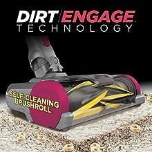 self cleaning brushroll, self cleaning vacuum, bagless vacuum cleaner, dirt engage technology