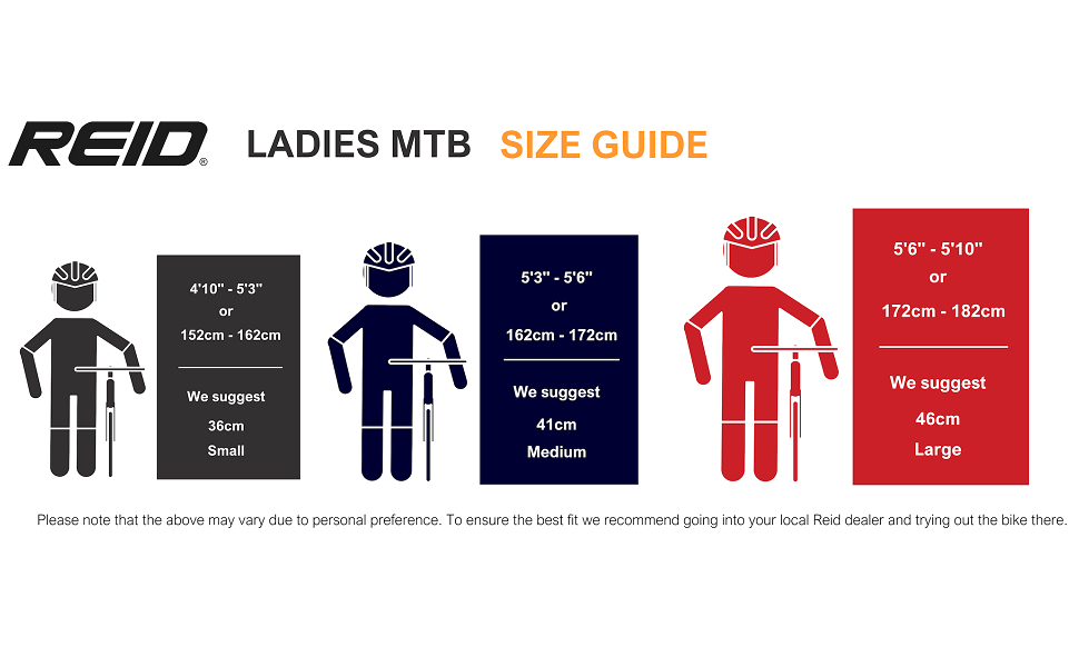 Ladies MTB Size Guide