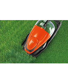 Utilises a powerful motor that tackles even the thickest of grass