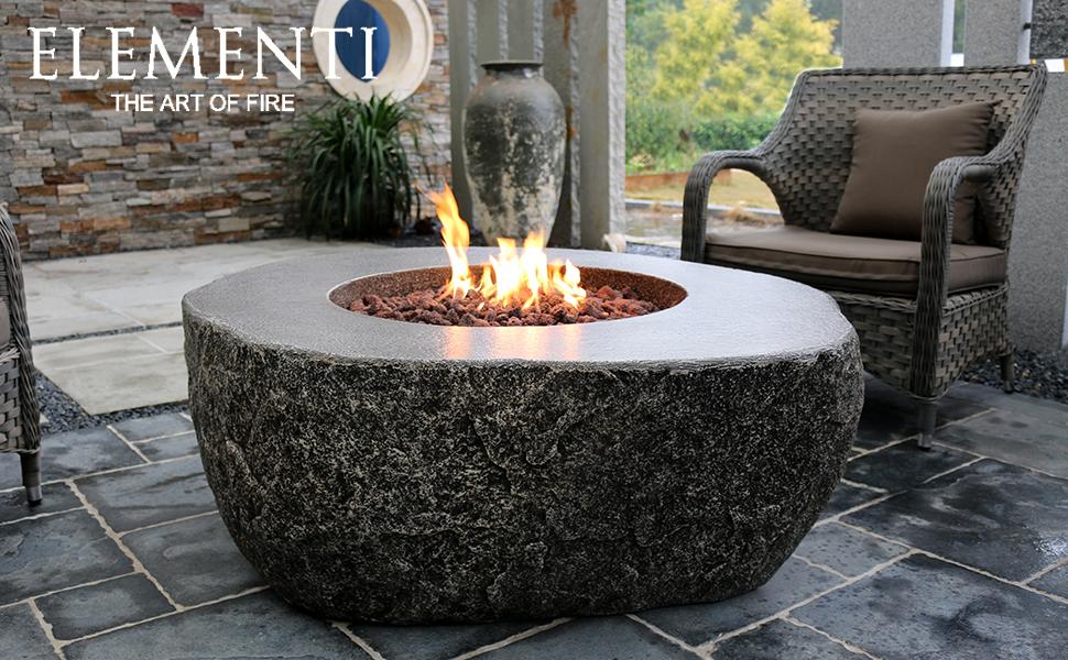 Amazon.com: Elementi Outdoor Fiery Rock Fire Pit Table 50