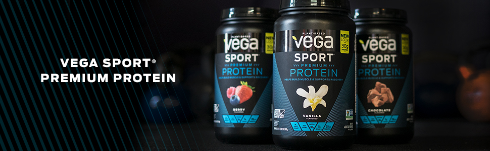Vega Sport Premium Protein has 30 grams of protein that is vegan, gluten free, NSD, Informed Choice