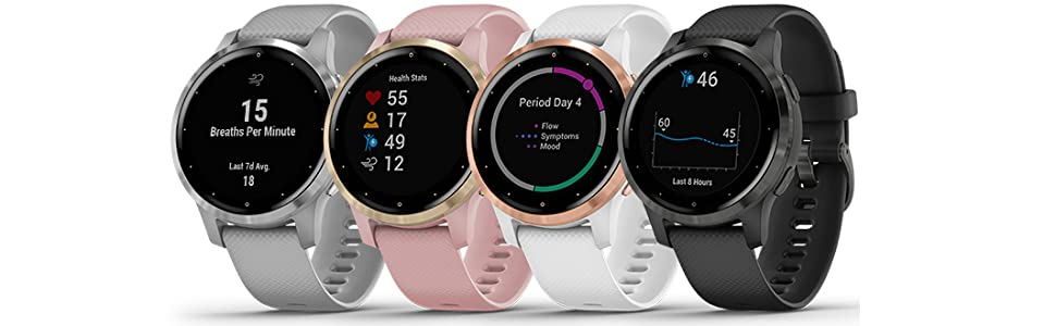 Garmin vívoactive 4S, Smaller-Sized GPS Smartwatch, Features Music, Body Energy Monitoring, Animated Workouts, Pulse Ox Sensors and More, Black, 40mm