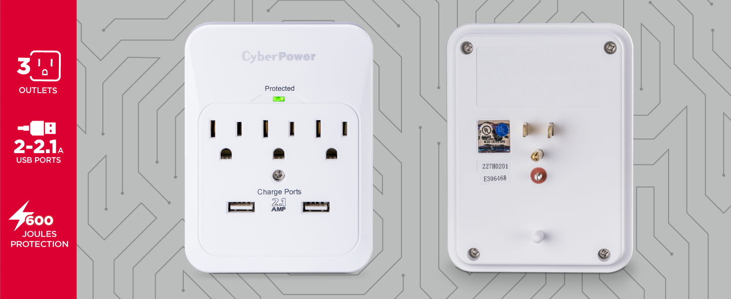 CyberPower CSP300WUR1 Professional Surge Protector - Hot Spots