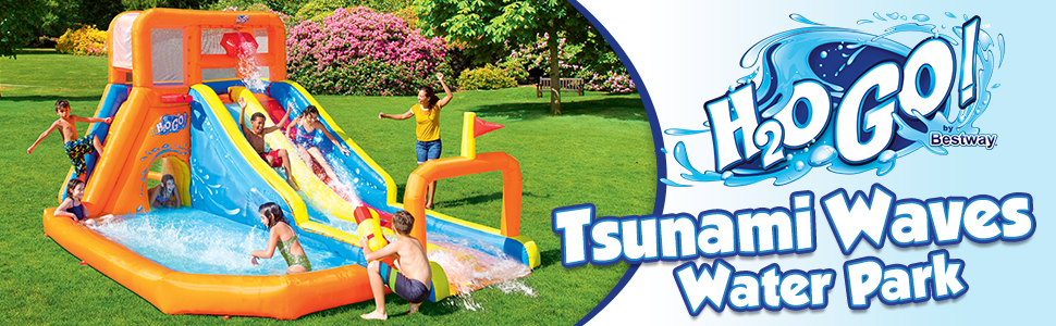 Bestway H2OGO! Tsunami Waves Summit Inflatable Mega Water Park for Kids  with Double Water Slide, Water Gun Blaster, Basketball Hoop, Climbing Wall,