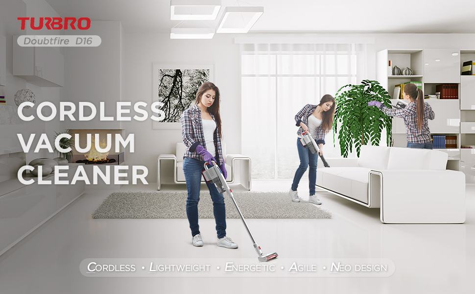 TURBRO Doubtfire D16 Cordless Vacuum Cleaner banner
