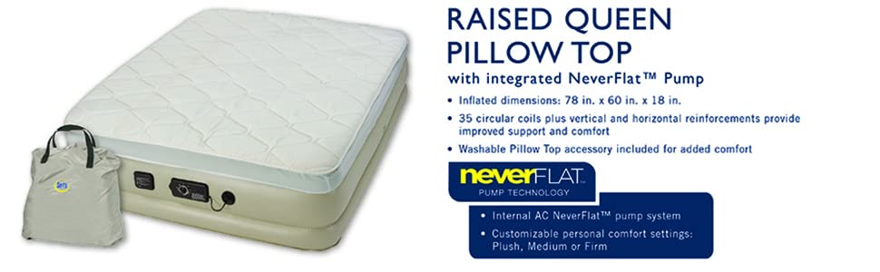 queen, pillow, serta, neverflat
