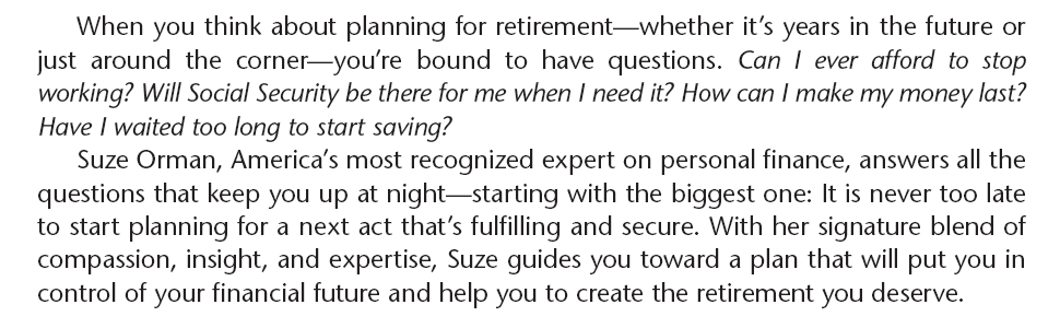 SUZE ORMAN ULTIMATE RETIREMENT GUIDE WILL TRUST FINANCIAL ADVISOR