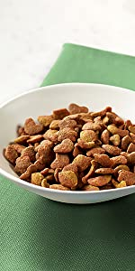 Bowl of dry cat food kibble on a napkin