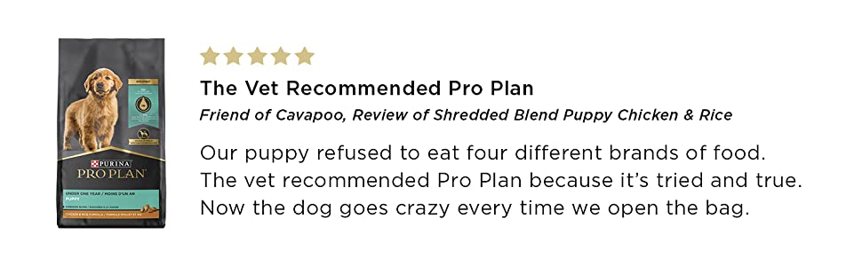 Five star consumer review of Shredded Blend Puppy Chicken and Rice
