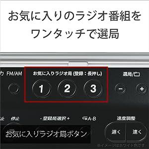 FM/AM放送局をあわせて3つまで登録できます。聴きたいラジオ局を受信して、お気に入りラジオ局ボタンを約2秒間「ピー」と音がするまで押せば登録完了。お気に入りのラジオ番組をワンタッチで選局できます。