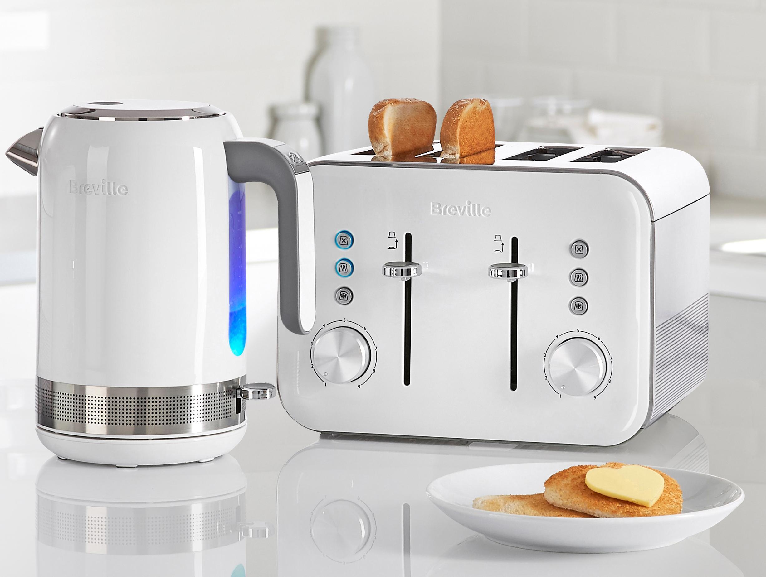 Breville Vtt687 4 Slice High Gloss Toaster White Amazon
