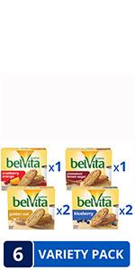 Belvita Breakfast Biscuits Variety Pack, 4 Flavors, 6 Boxes of 5 Packs