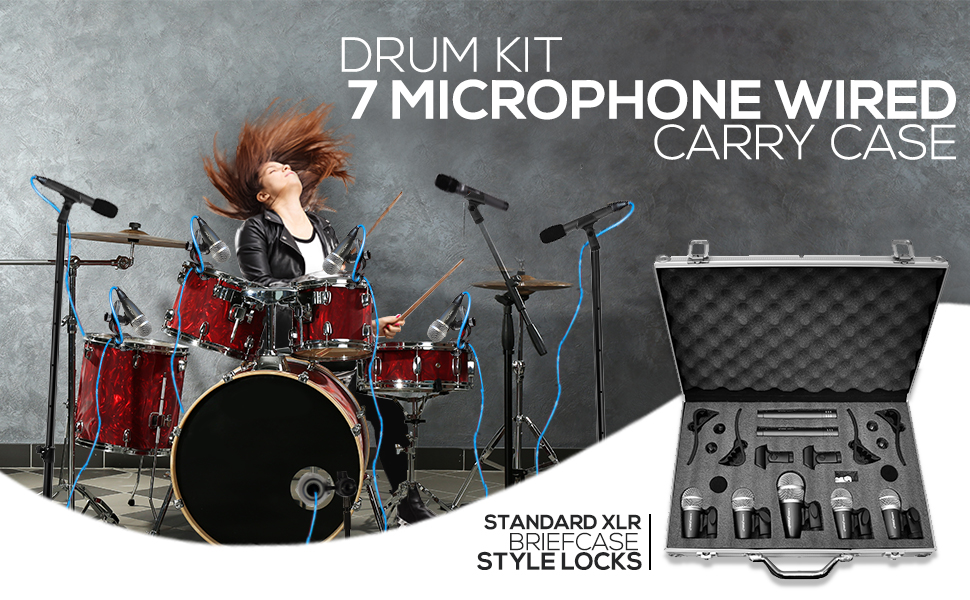 7 Microphone Wired Drum Kit with Carry Case & Mounting Accessories