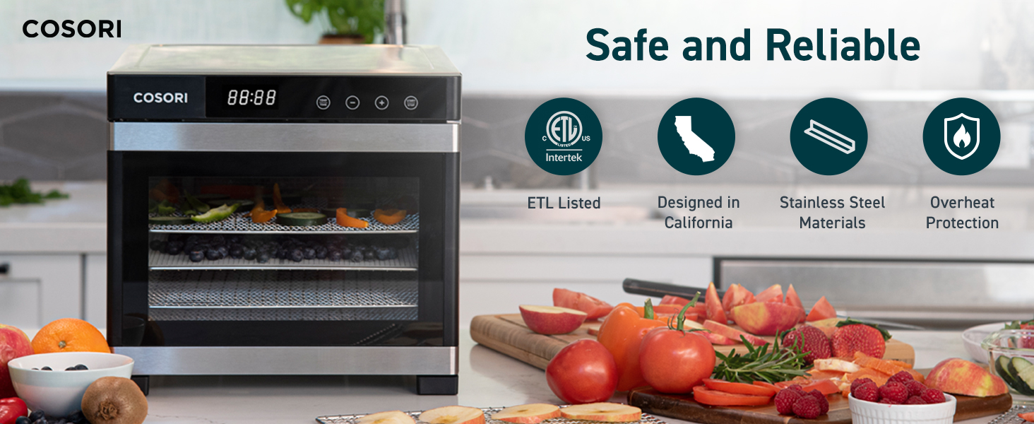 Designed in California.  Passed the ETL certification, comes with overheat protection