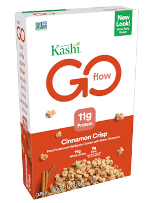 Power of plant-based protein & fiber! Kashi GO Cinnamon Crisp cereal is made w/ 14g of whole grains