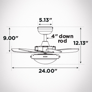 Ceiling fan must be installed with a down rod.