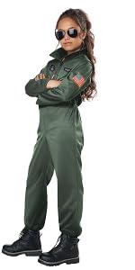 Fighter Pilot, Army Costume, Girl's Costume, Pilot Jumpsuit, Top Gun, Soldier, Navy, Sailor