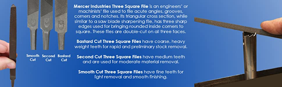 Mercer Industries BTHB06 Three Square File Bastard Cut 6 6 12 Pack