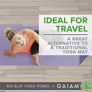 Gaiam No-Slip Yoga Towel, Ideal For Travel