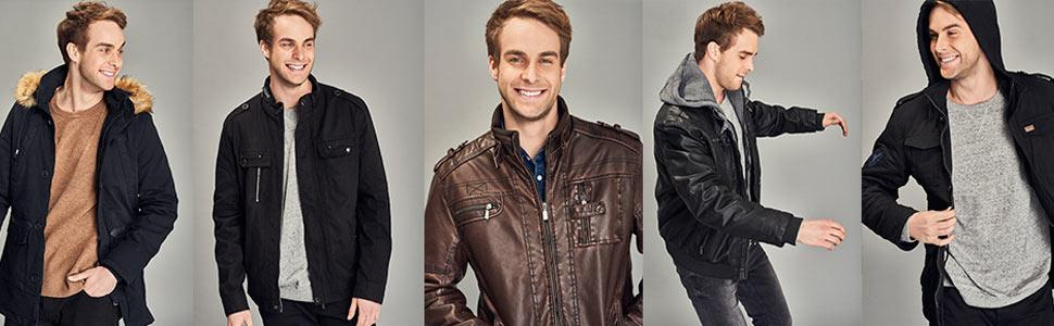Amazon Com Wantdo Men S Faux Leather Jacket With Removable Hood