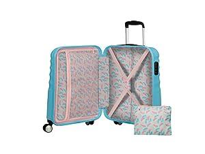 interior; travel; storage; cross ribbons; spinner wheels; disney; travel; cabin size; suitcase