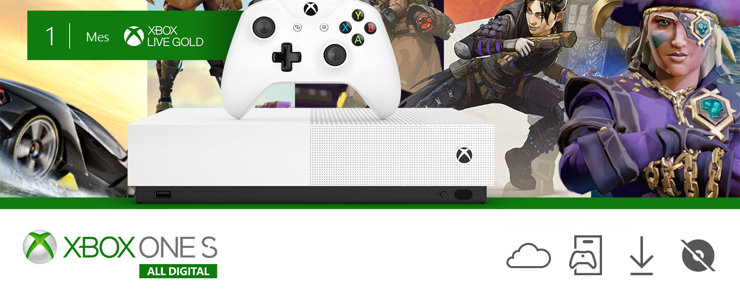 Microsoft Xbox One S All Digital - Consola de 1 TB, color blanco + ...
