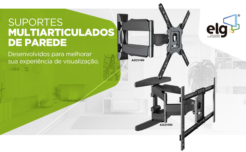 suporte parede tv, multiarticulado, elg, A02V4N, A02V6N