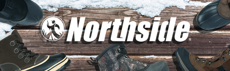 Northside mens winter snow boots waterproof insulated rubber suede