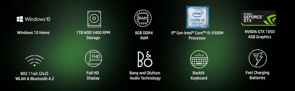 HP Pavilion Gaming Core i5 9th Gen 15 6-inch FHD Gaming Laptop (8GB/1TB  HDD/Windows 10/NVIDIA GTX 1050 4GB Graphics/Shadow Black/2 17 kg),  15-bc504TX
