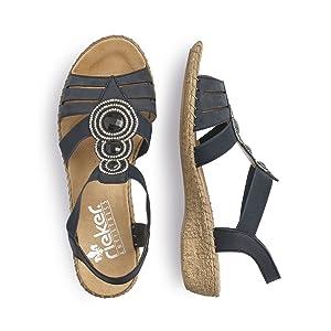 Rieker Damen 61659 Offene Sandalen mit Keilabsatz: Rieker eXuOe