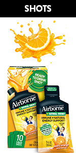 Airborne Zesty Orange Liquid Shots Immune Support Vitamin C Zinc