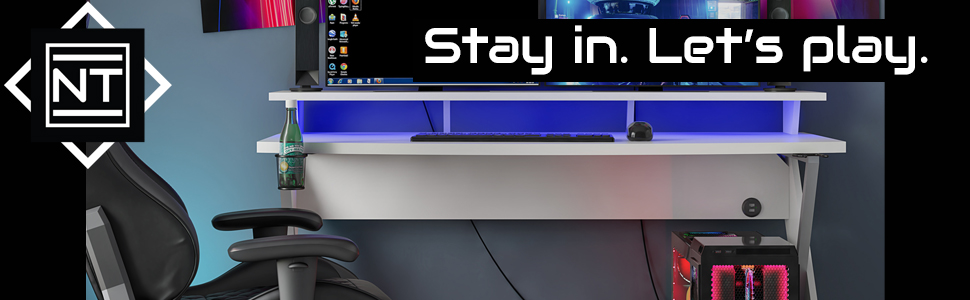 gaming desk;gaming;gaming chair;gaming station;white gaming desk;xbox gaming desk