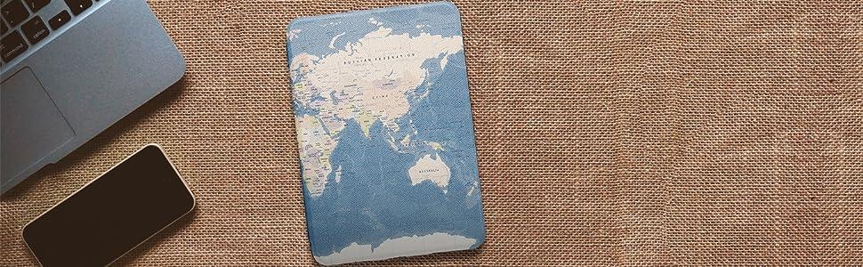 Capa Kindle Paperwhite WB Ultra Leve Mapa Mundi