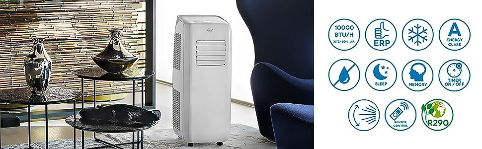 climatiseurs portables, climatiseur mobiles, climatiseur, sans evacuation, climatisation, fenetre