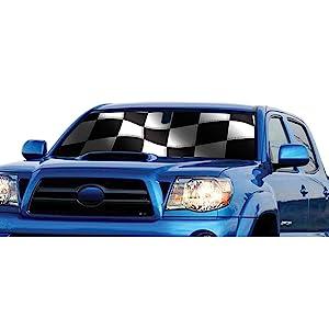 Intro-Tech Custom Racing Flag Auto Sun Shade