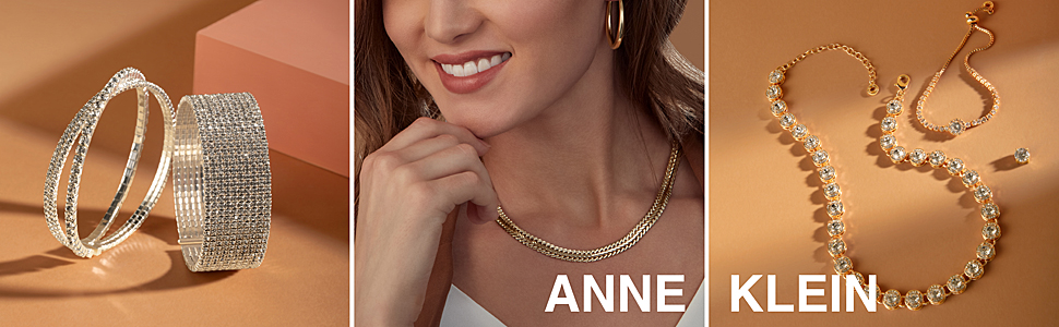 Anne Klein jewelry, gold necklace, gold ring, diamond ring, sterling silver, bracelets, earrings