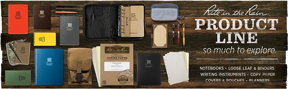 Notebooks, loose leaf, binders, pens, pencils, printer paper, planners, calendars, book covers