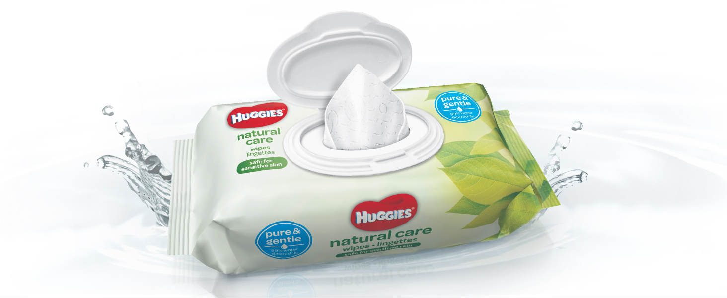 Huggies Natural Care Wipes are formulated to be gentle on baby's delicate skin.