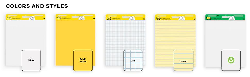 Post-it Easel Pads colors and styles