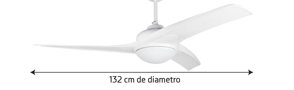 ventilador de techo silencioso, ventilador de techo bajo consumo, ventilador de techo con luz