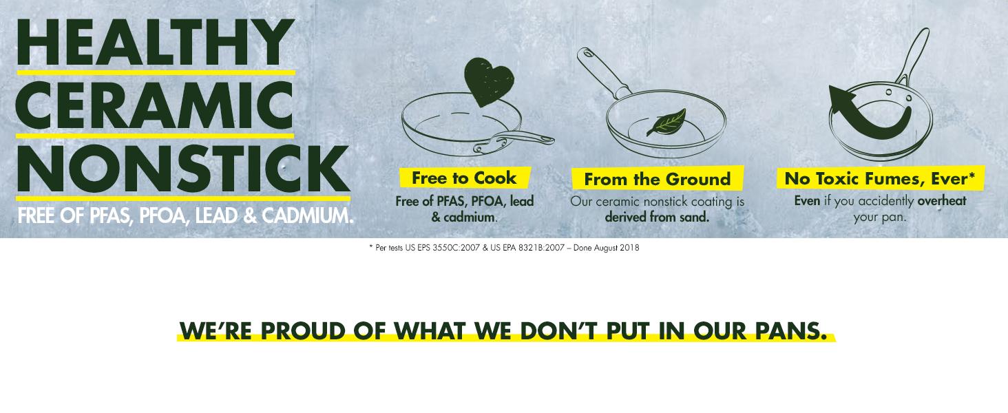 Ceramic nonstick, toxin-free, healthy, greenpan, cookware