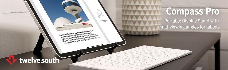portable display stand for ipad, portable ipad stand, ipad display stand, compass pro, tablet stand