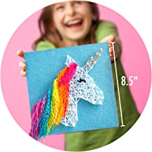 easy string art room décor complete craft kit unicorns magic glitter heart yarn art