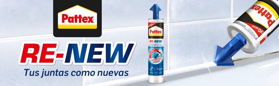 Pattex hersealingspatroon van wit silicone, voor badkamer, keuken, verzegeling.