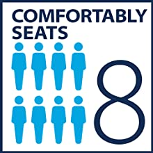 Comfortably seats 8 people